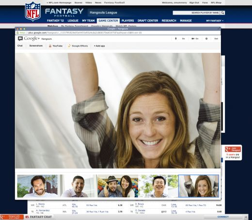 Hangouts breaks out of Google+, will power NFL.com fantasy football experience
