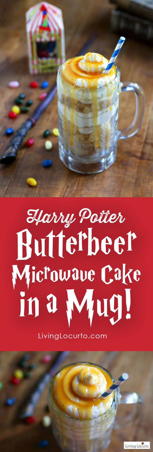 Homemade Harry Potter Butterbeer - Microwave Cake in a Mug. Easy recipe that's perfect for a Harry Potter Themed Party. LivingLocurto.com