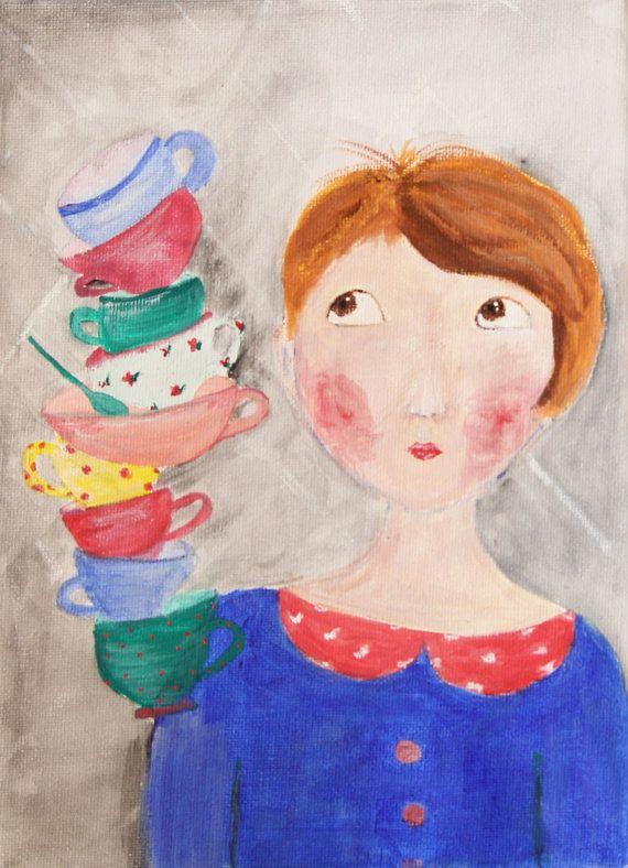 Art print Painting portrait It is always tea by NataliesWunderland