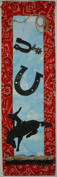 Cowboy Up TG25 Western Style Quilted Wall Hanging by JenKariArts