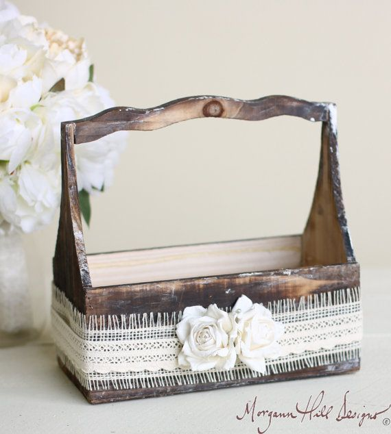 Rustic Pine Toung And Groove Interior Design: Country Flower Girl Basket Rustic Wood Burlap Lace Paper