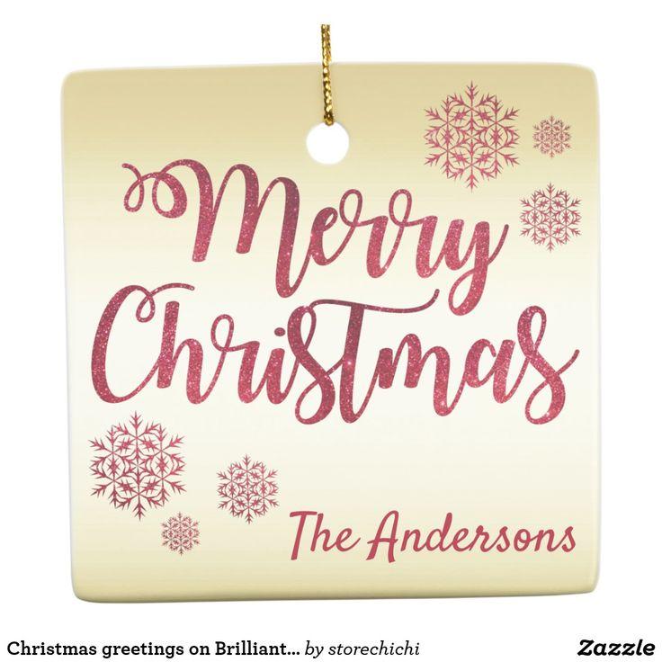 Christmas greetings on Brilliant shiny gold Ceramic Ornament