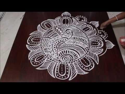 simple and easy rangoli design II free hand kolam II big rangoli - YouTube