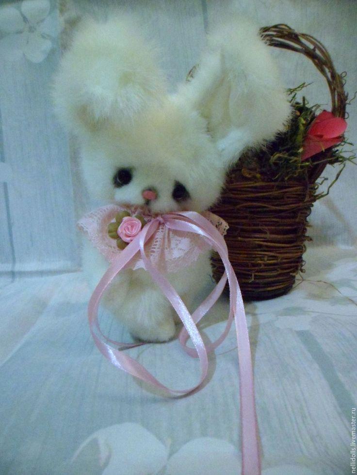 Купить Зайка Розовый нос,15 см - белый, тедди зайка, друзья тедди