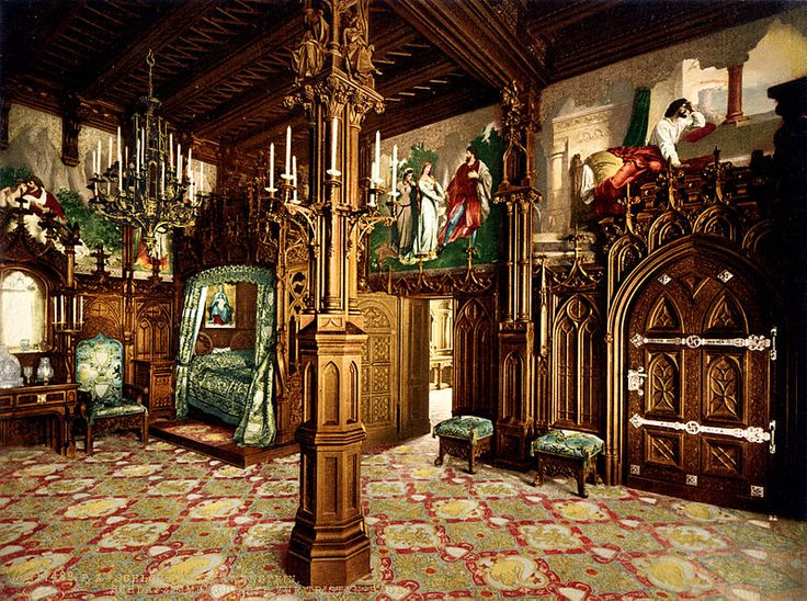 King Ludwig's Bedroom - Schloss Neuschwanstein is a nineteenth-century Romanesque Revival palace on a rugged hill above the village of Hohenschwangau near Füssen in southwest Bavaria, Germany. The palace was commissioned by Ludwig II of Bavaria, King of Bavaria 1864–1886