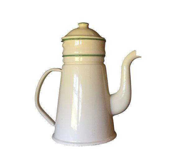 Enamel Kitchen Accessories: 1930s Enamelware Coffee Pot, Vintage Enamel Country