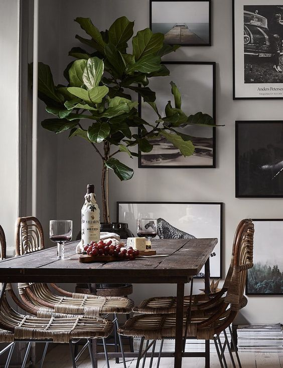 Scandinavian dining room with wooden details.