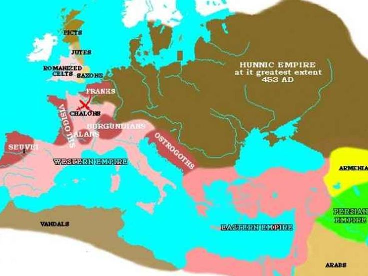 Hunnic Empire in Europe  (We do not know about its territory in Asia)