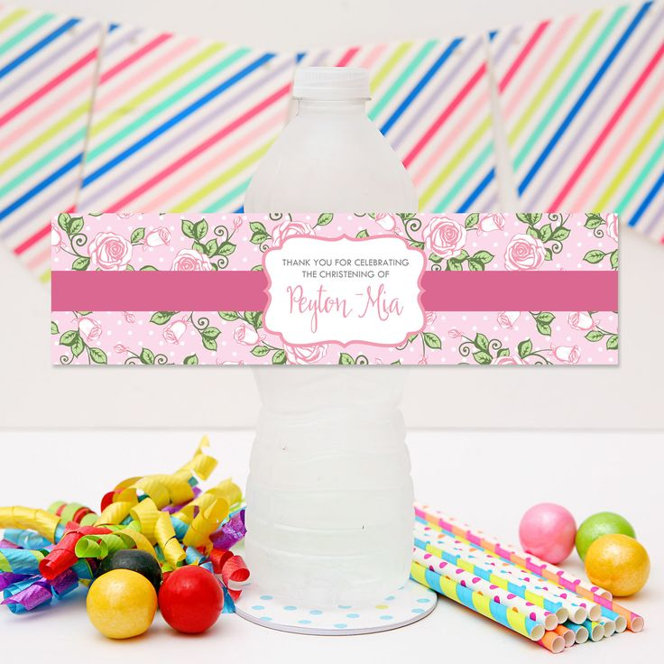 Rose Garden Drink Labels | Personalised Floral Party Water Bottle Stickers.  Visit website for details and for more matching Party Printables from Print & Party.
