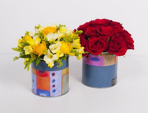 www.fleria.gr Handmade collage Nina's paintings with roses arrangement