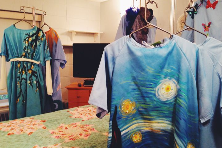 Chck out the gowns made by some of our very own, Nancy, Evelyn and Annette, for the charity event Gowns without Bounds http://globalnews.ca/news/1559256/charity-looks-to-turn-drab-hospital-gowns-into-works-of-art/