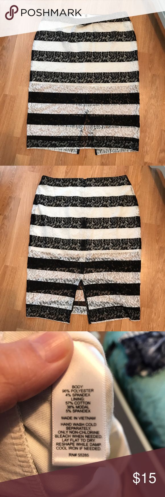 Black and white stripe lace pencil skirt. Black and white stripe pencil skirt. Lace with white shell underneath. Zipper in back. Express Skirts Pencil