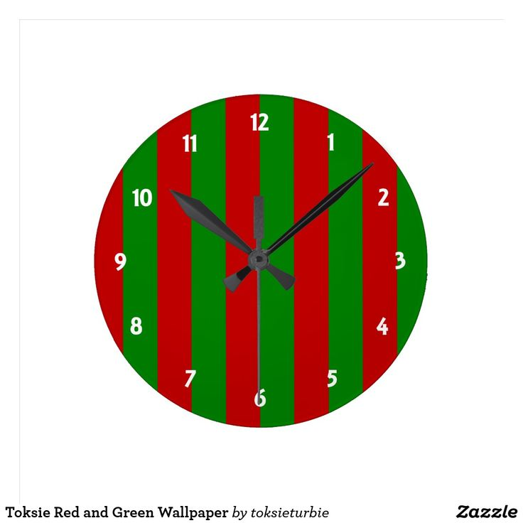 Toksie Red and Green Wallpaper Round Clock