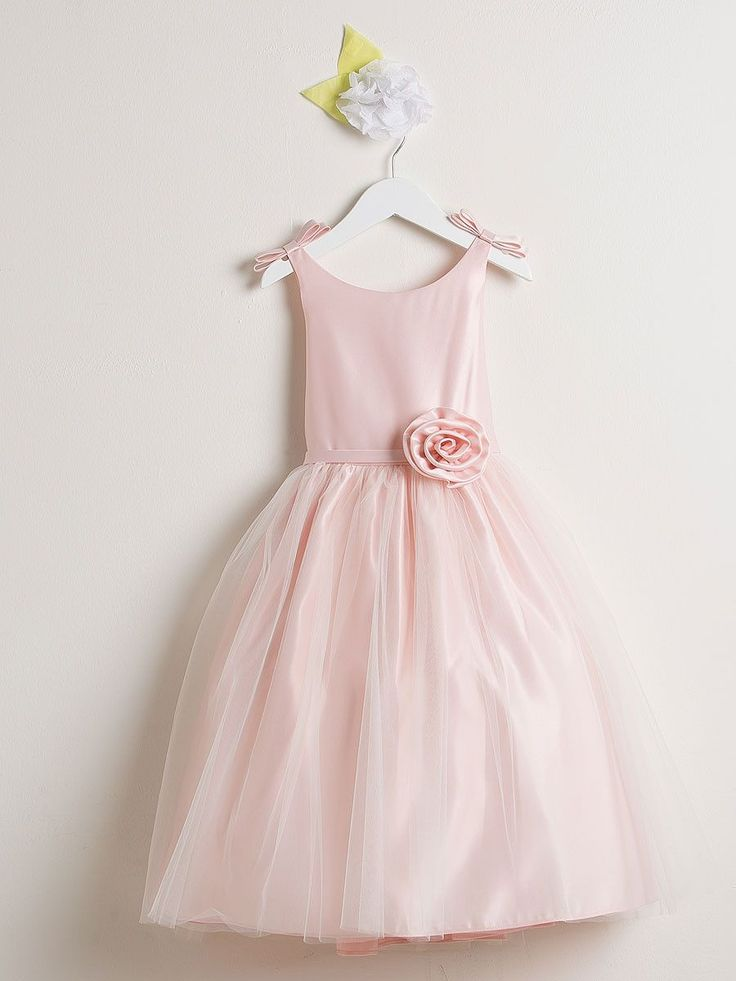 Sweet Pink Satin And Tulle Flower Girl Dress