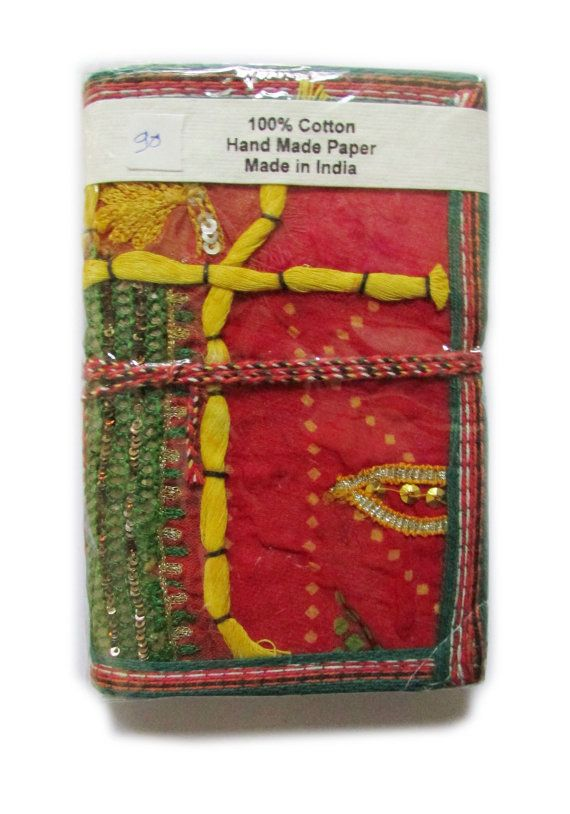 Blank Art Journal Red Green Upcycled Sari Cloth by IndianJournals