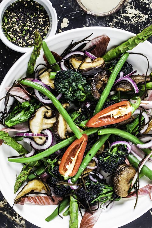 Japanese inspired superfood salad with tahini miso dressing