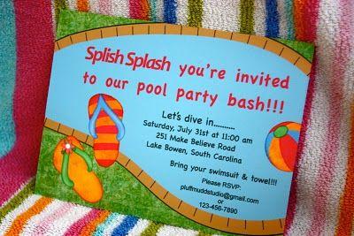Pool party theme: Mudd Studios, Pluff Mudd, Fun Parties, Splish Splash, Pools Parties Theme, Splash Parties, Parties Ideas, Parties Invitations, Parties Time