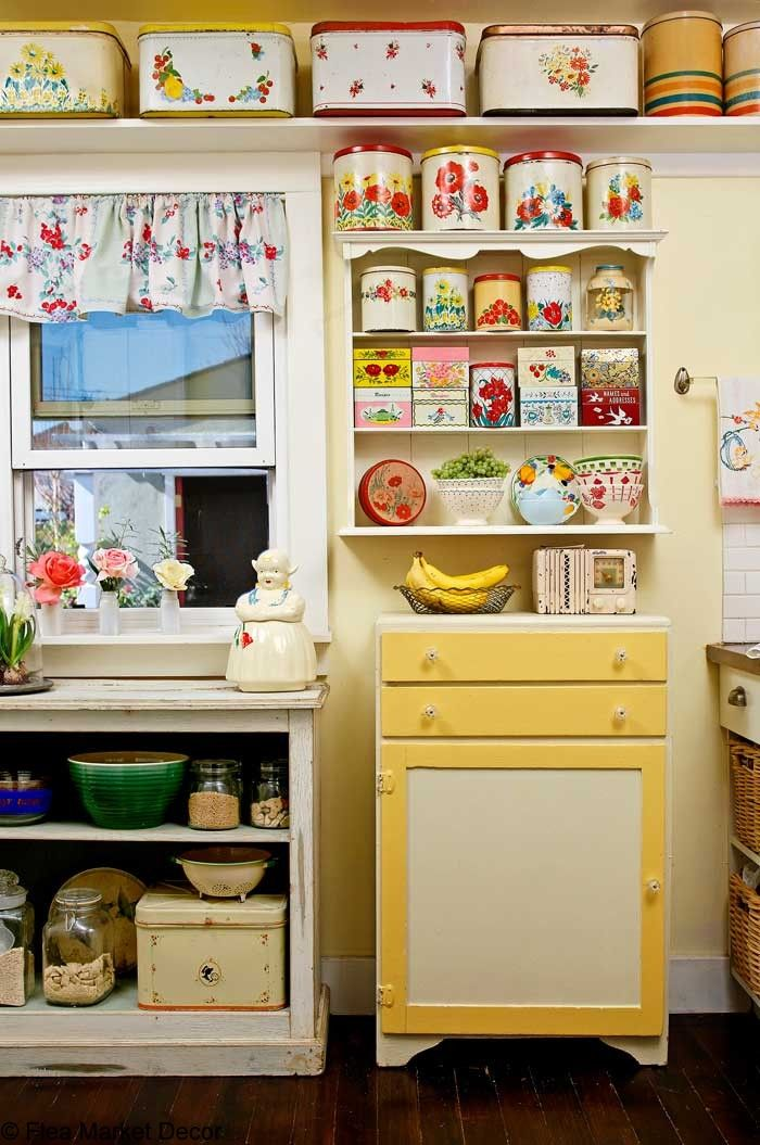 Vintage Tin Collection In Cute Cottage Kitchen// I Have Stuff Like This  Stored Away
