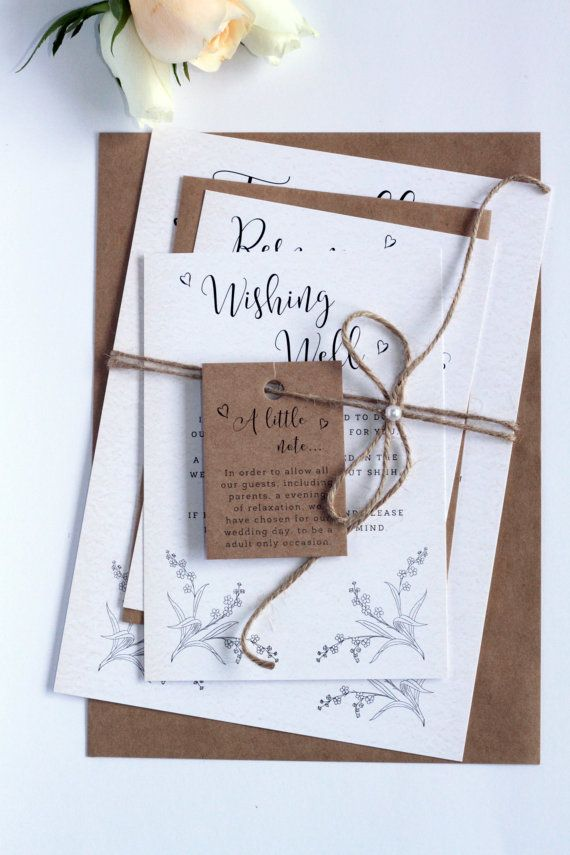 Rustic Style Twine and Pearls Wedding Invitation Sets