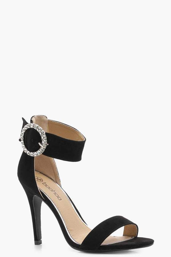 7d1f92546607 boohoo Hannah Diamante Buckle 2 Part Heels  shopstyle  shiney  heels   wedding  valetinesday  glitter