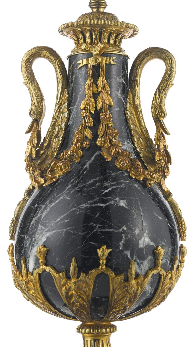 A PAIR OF LOUIS XVI STYLE GILT BRONZE-MOUNTED GREE…