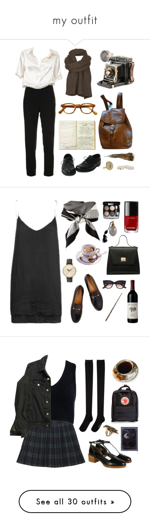 """""""my outfit"""" by your-fair-lady ❤ liked on Polyvore featuring Brandon Maxwell, AllSaints, vintage, CÉLINE, Gucci, Chanel, Nixon, Monki, Sans Souci and American Apparel"""
