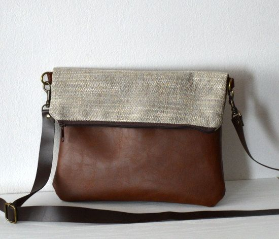 Foldover Crossbody Bag Shoulder Bag Purse Leather Brown by reabags