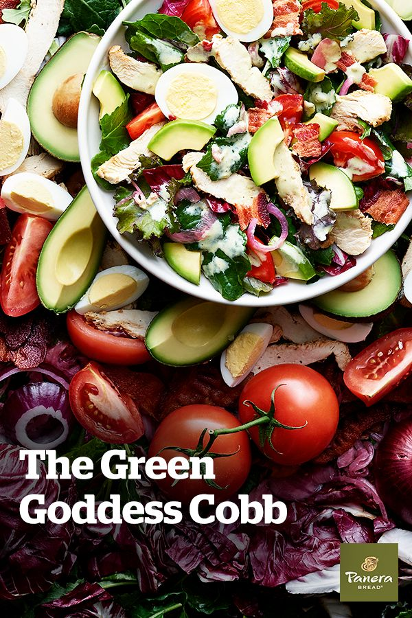 Our Green Goddess Cobb is chock-full of the good stuff, like chicken raised without antibiotics, cage-free hard-boiled egg, vine-ripened tomatoes and pickled red onions. So much more than green, and so much more than what you've come to expect.