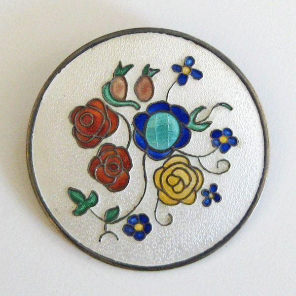 Vintage Einar Modahl Sterling Enamel Norway Brooch Mod Floral