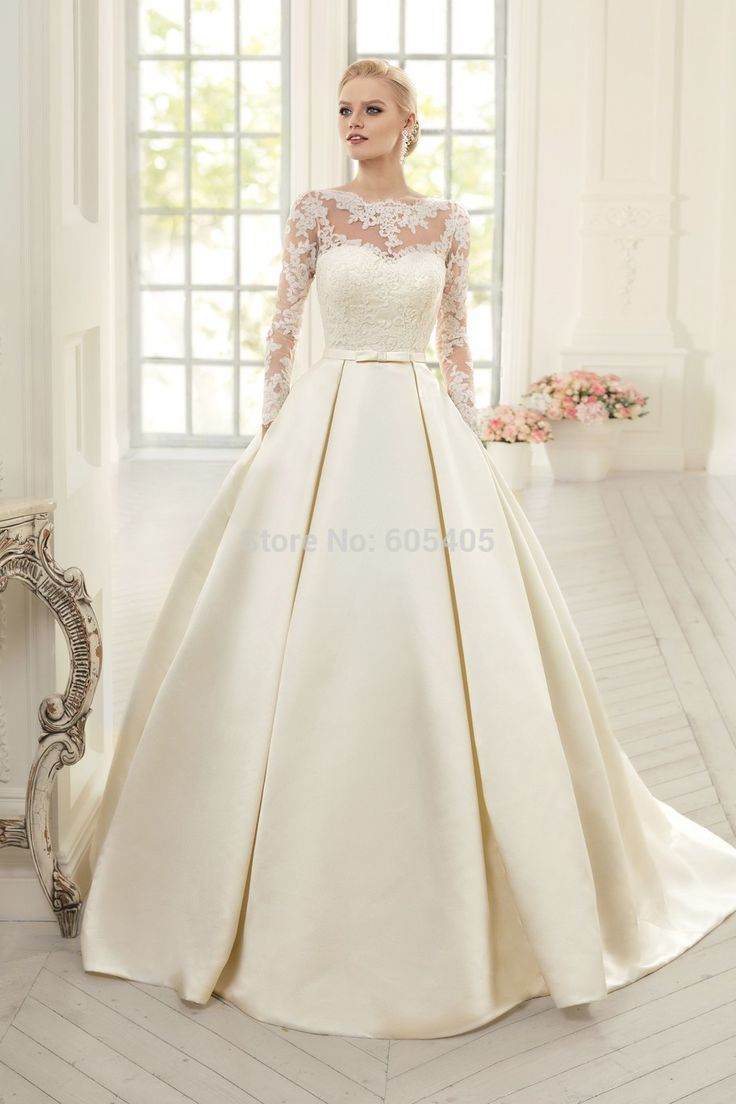 Ball Gown Simple Long Sleeve Wedding Dresses with Lace 2016 High Neck Puffy Backless Bridal Gowns Vestido De Noiva Princesa