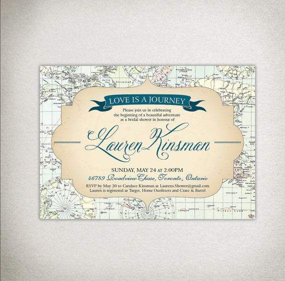 best 25+ travel bridal showers ideas on pinterest | travel party, Baby shower invitations