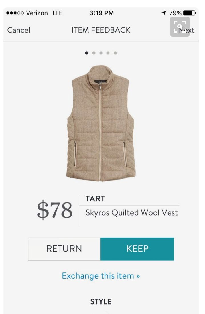 Tart Skyros Quilted Wool Vest - Stitch Fix 2016 - does this come in other colors, I like it but am open to color :)