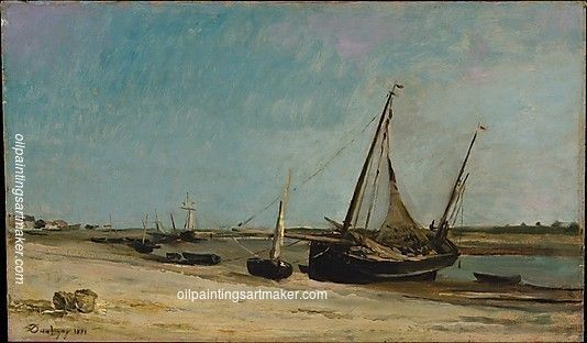 Charles Francois Daubigny Boats on the Seacoast at Etaples, painting Authorized official website
