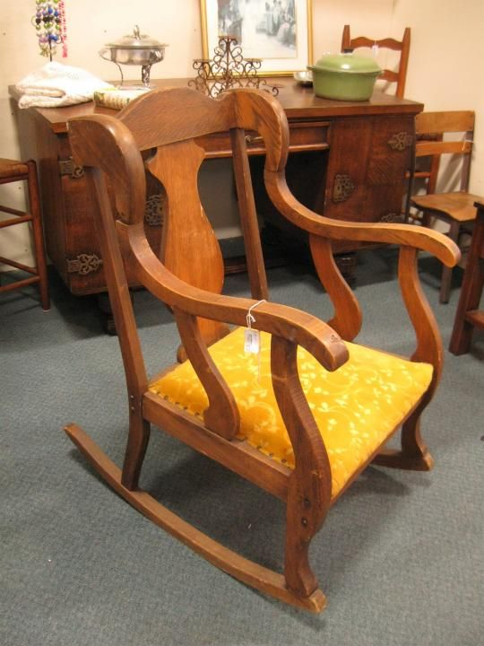Gorgeous antique rocking chair with colorful yellow upholstery. From Vendor  886 in booth Priced at Available at the Brass Armadillo Antique Mall in  Denver, ... - 136 Best Antique & Vintage Furniture Images On Pinterest Denver