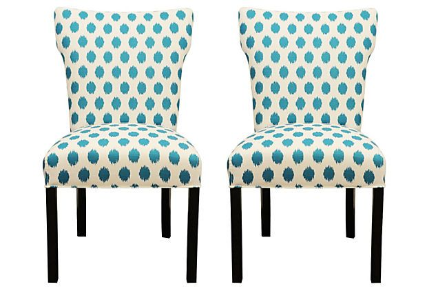 Turquoise lauren dining chair pair on polka dots and stripes pinterest - Turquoise upholstered dining chair ...