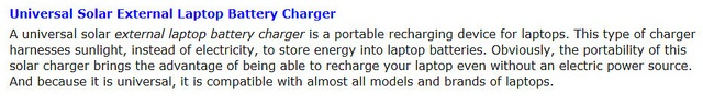 Laptop Battery Charger by Solar Battery Charger, via Flickr