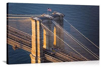 New York, New York Brooklyn Bridge American Flag Panorama Picture