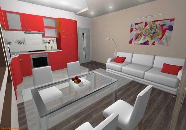 Narrow Open Plan Kitchen Living Room