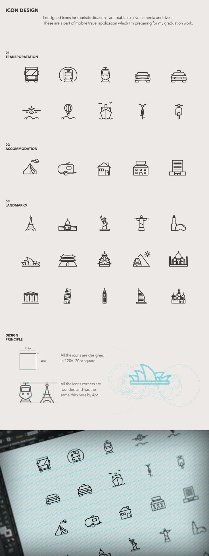 Touristic icon design on Behance