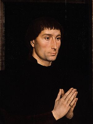 Tommaso di Folco Portinari (1428–1501); probably 1470  Hans Memling (Netherlandish, active by 1465, died 1494)  Oil on wood    (.626, Tommaso) overall 17 3/8 x 13 1/4 in. (44.1 x 33.7 cm), painted surface 16 5/8 x 12 1/2 in. (42.2 x 31.8 cm); (.627, Maria) overall 17 3/8 x 13 3/8 in. (44.1 x 34 cm), painted surface 16 5/8 x 12 5/8 in. (42.2 x 32.1 cm)  Bequest of Benjamin Altman, 1913 (14.40.626–27)