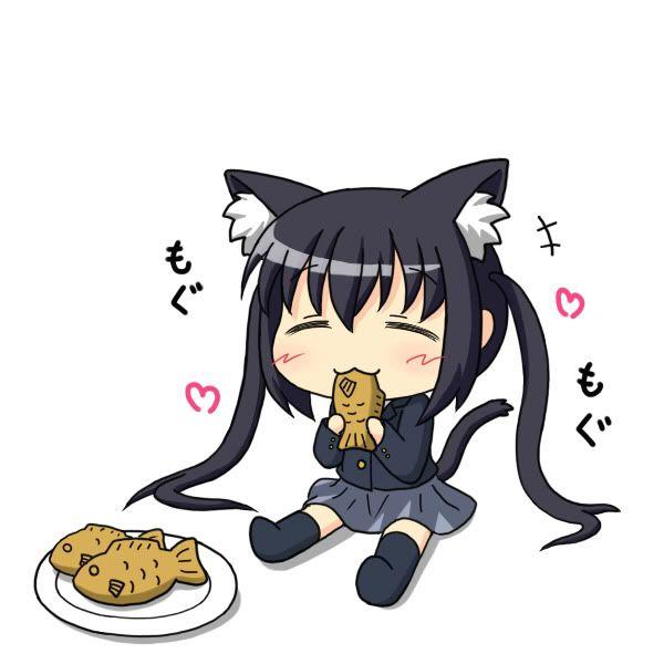 Chibi cat-girl eating sweet