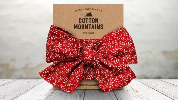 """Handmade Headband """"Bramble"""" - 100% Cotton Fabric Hairband - Made in Italy - Red and White leaves pattern - Cotton Mountains accessories"""