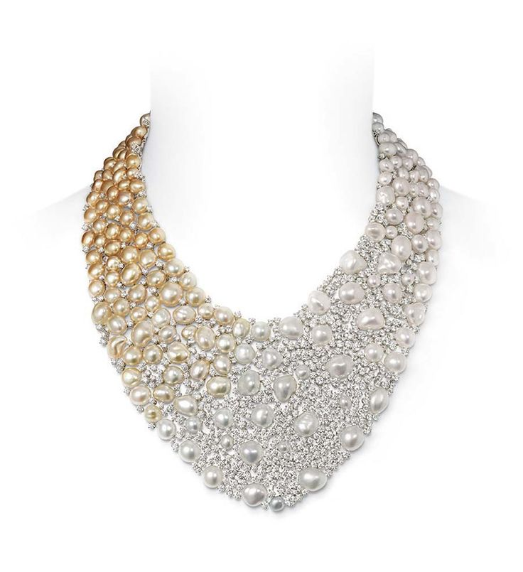 Mikimoto Aurora necklace with Golden South Sea Keshi pearls, White South Sea Keshi pearls and 64.36ct of diamonds, set in white gold (£POA).