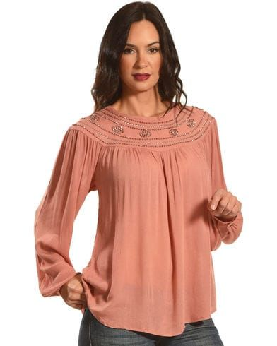 New Direction Women's Bead Embroidered Long Sleeve Top, Pink