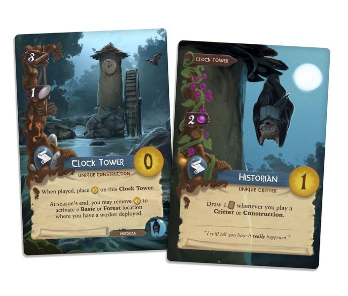 Everdell The Clock Tower And Historian Cards In 2020 Game Card Design Card Design Card Art