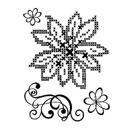 Tampon Dessin Fleur point de croix et arabesque