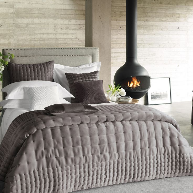washed silk bedspread/throw - in Heather from The White Company