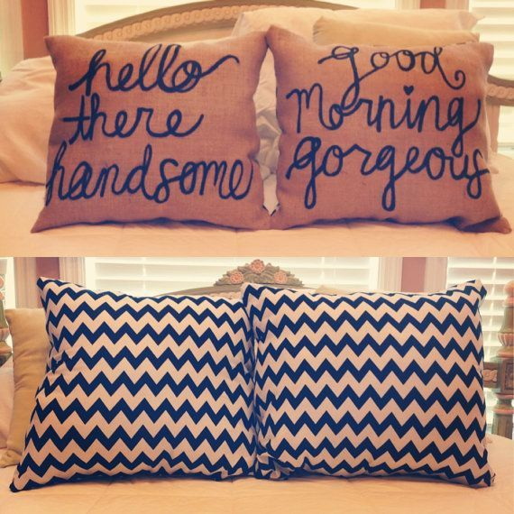 I want these now!!!! Reversible Throw Pillows for when one of you leaves before the other in the morning..... =)