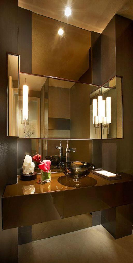 bagno bathroom moderno modern parete decorativa decorative panel wevux scuola di interni ...
