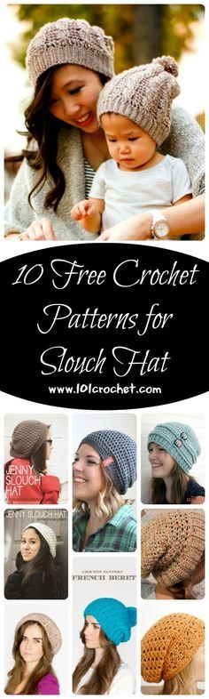 10 Free Crochet Patterns for Slouch Hat | 101 Crochet
